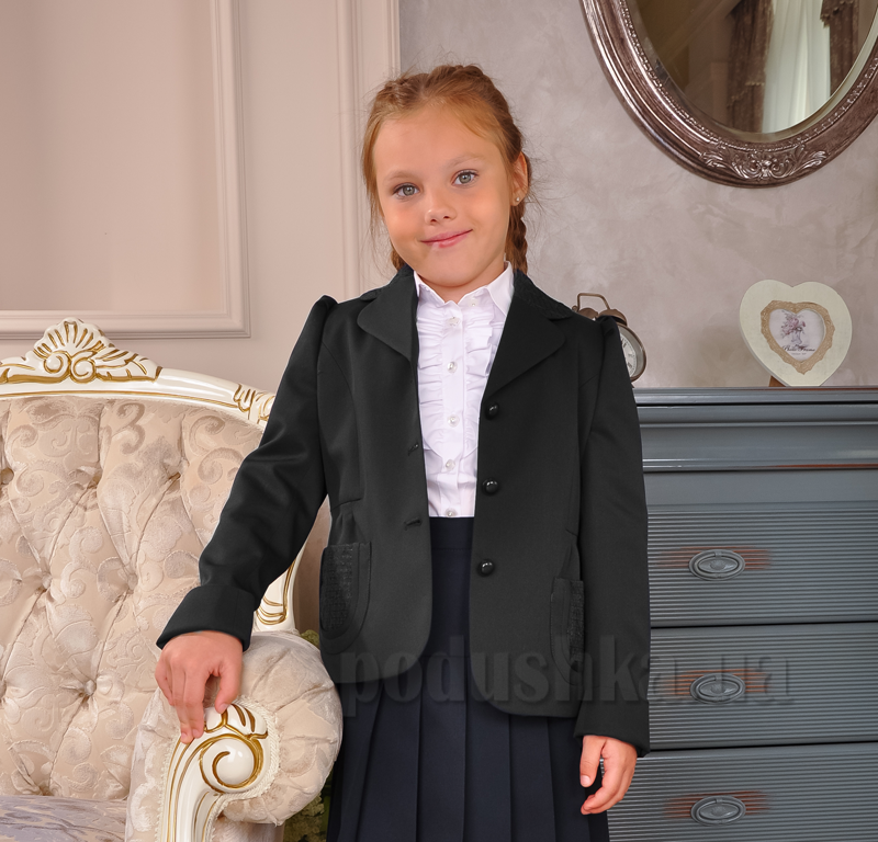Жакет полушерстяной с вышивкой ЖД-03101 черный