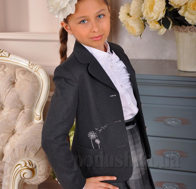 Жакет серый с вышивкой Милана ЖД-02102