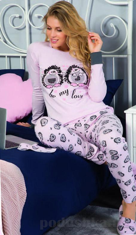 Женская пижама Elitol розовая 19069 с парочкой ежиков
