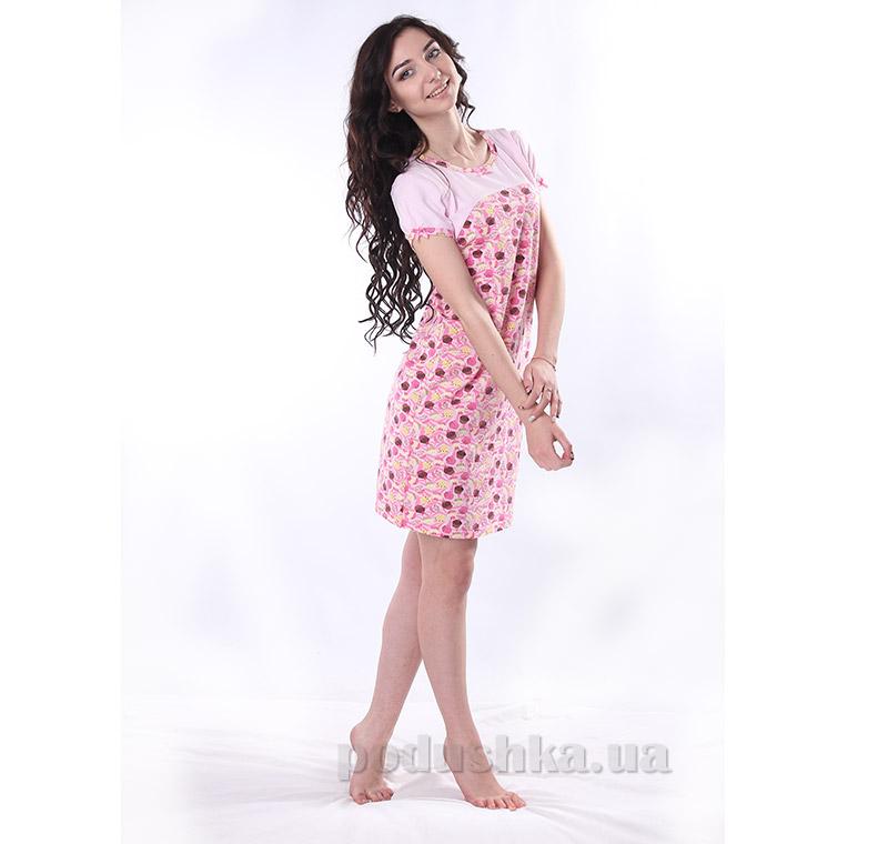 Женская сорочка VVL-TEX 300-1 розовая