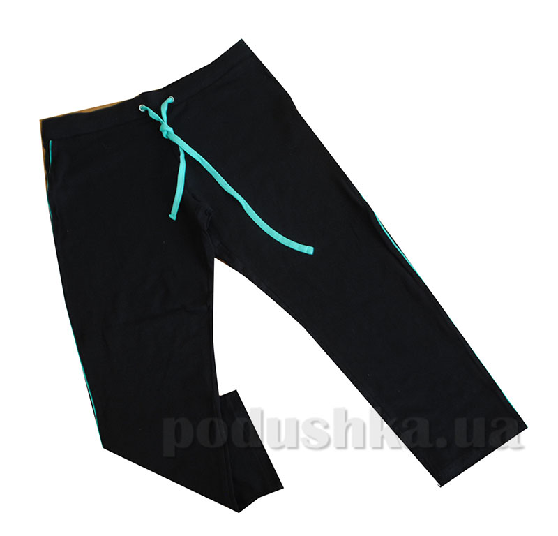 Женские брюки МТФ 01035 черный с бирюзовой полоской