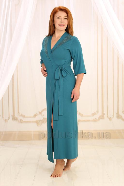 Женский длинный халат Violet delux Х-М-17 изумрудный M  Violet delux