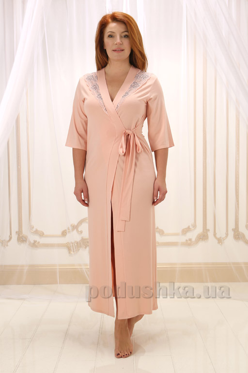 Женский длинный халат Violet delux Х-М-17 пудра XL  Violet delux