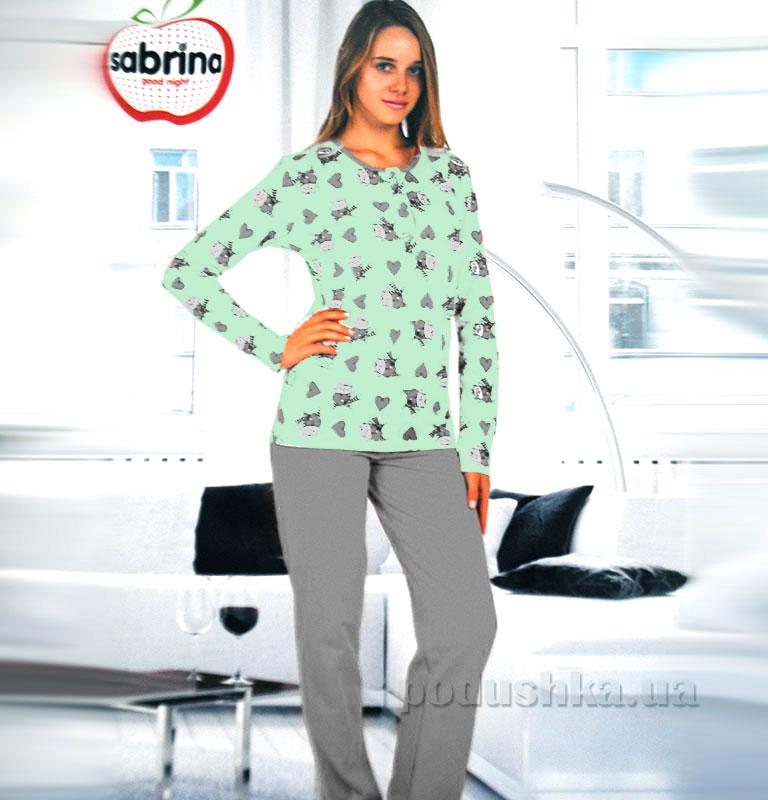 Женский домашний костюм Sabrina 45053 салатовый