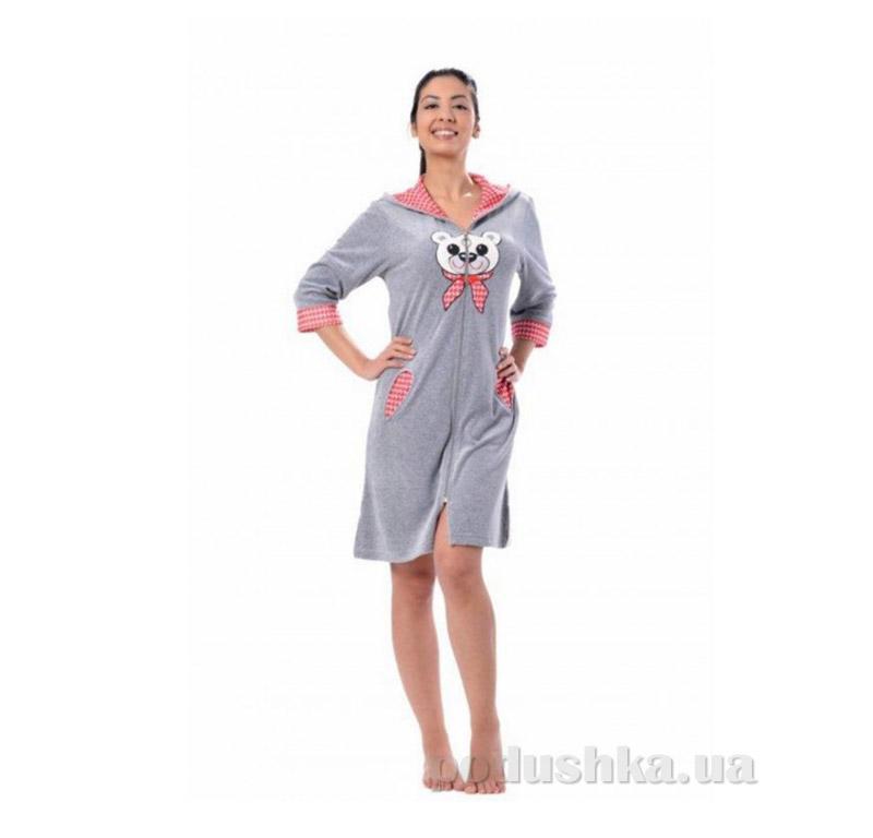 Женский халат на молнии Arya 13030 серый