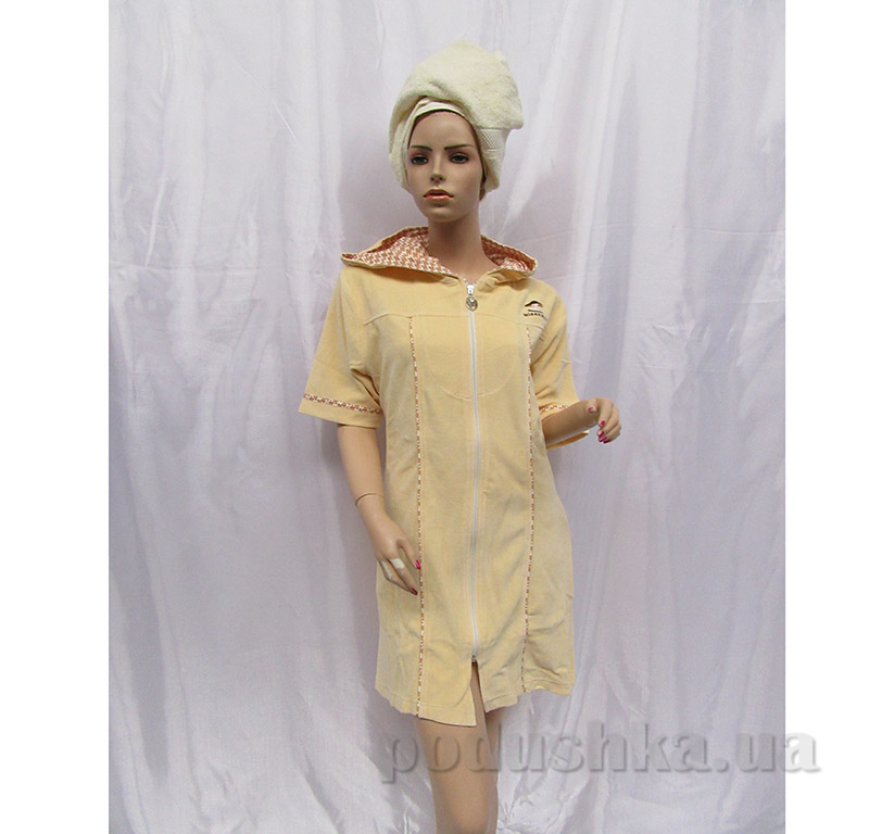 Женский халат на молнии Arya 13070 светло-кремовый