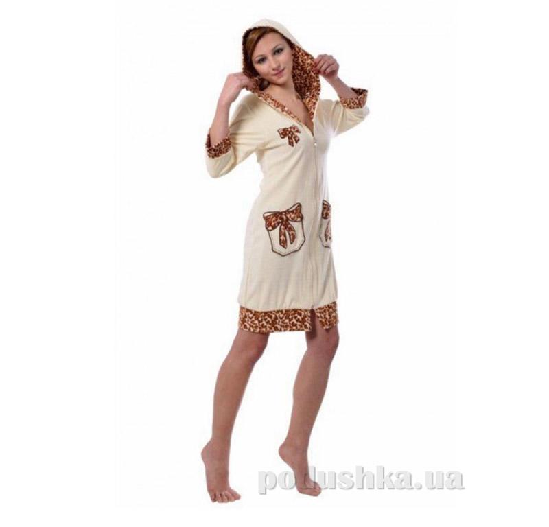 Женский халат на молнии Arya 13120 светло-кремовый