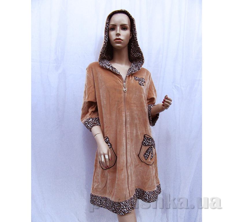Женский халат на молнии Arya 13120 коричневый