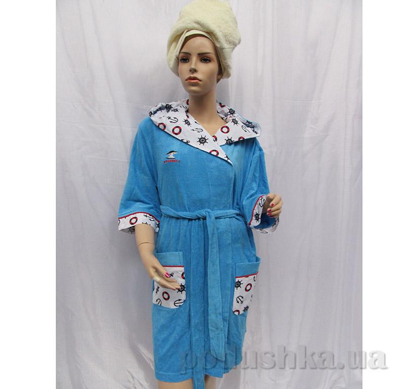 Женский халат на поясе Arya 13015 голубой