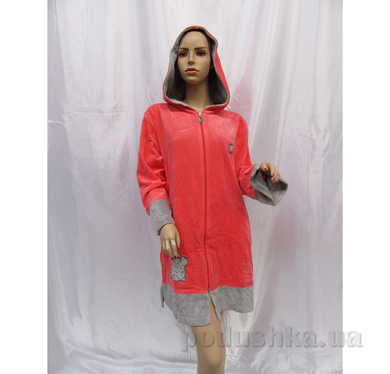 Женский халат с капюшоном на поясе Arya 13050 коралловый
