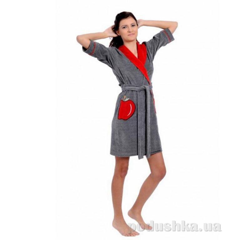 Женский халат с поясом Arya 13005 серый