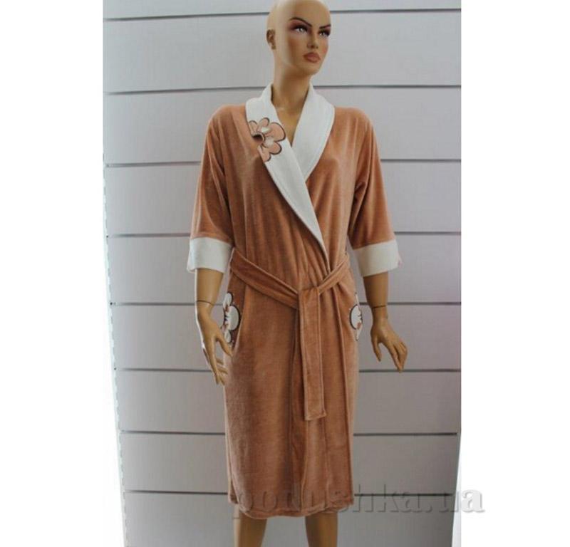 Женский халат Шалька Baglamali Arya 14000 коричневый