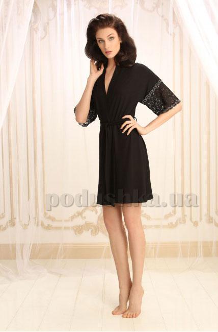 Женский халат Violet delux Х-М-14 черный люкс