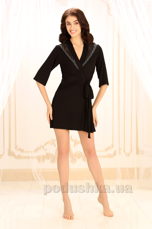 Женский халат Violet delux Х-М-16 черный люкс M  Violet delux