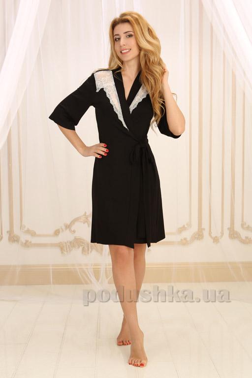 Женский халат Violet delux Х-М-19 черный с молочным кружевом L  Violet delux