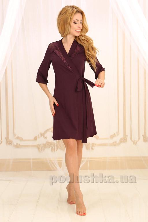 Женский халат Violet delux Х-М-19 сливовое вино S  Violet delux