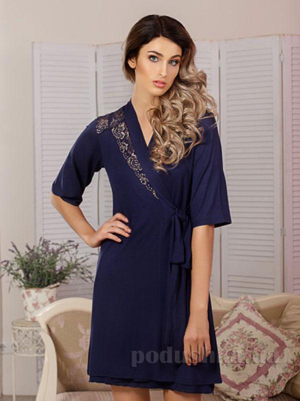Женский халат Violet delux Х-М-19 темно-синий
