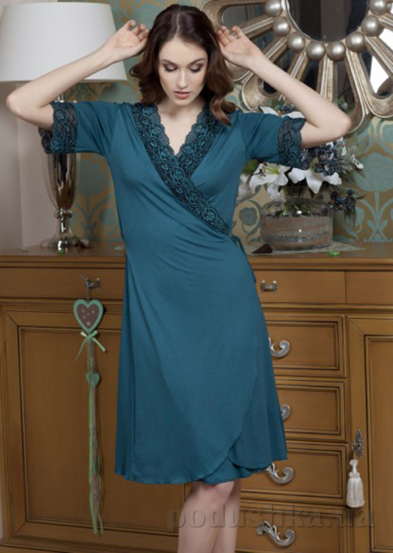 Женский халат Violet delux Х-М-2 синий топаз