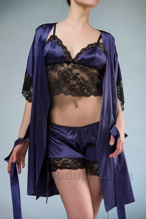 Женский шелковый комплект Имате 23 халат, майка и шорты