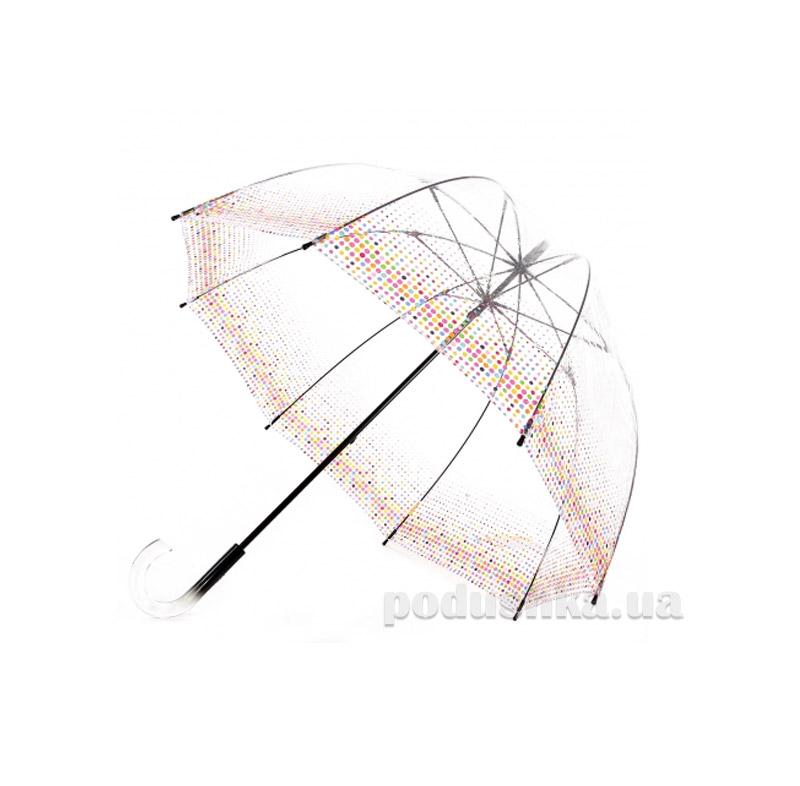 Женский зонт-трость прозрачный Zest 51570 Горошек