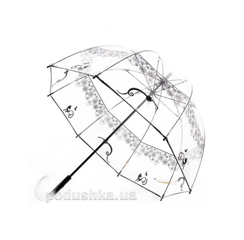 Женский зонт-трость прозрачный Zest 51570 Кошечка