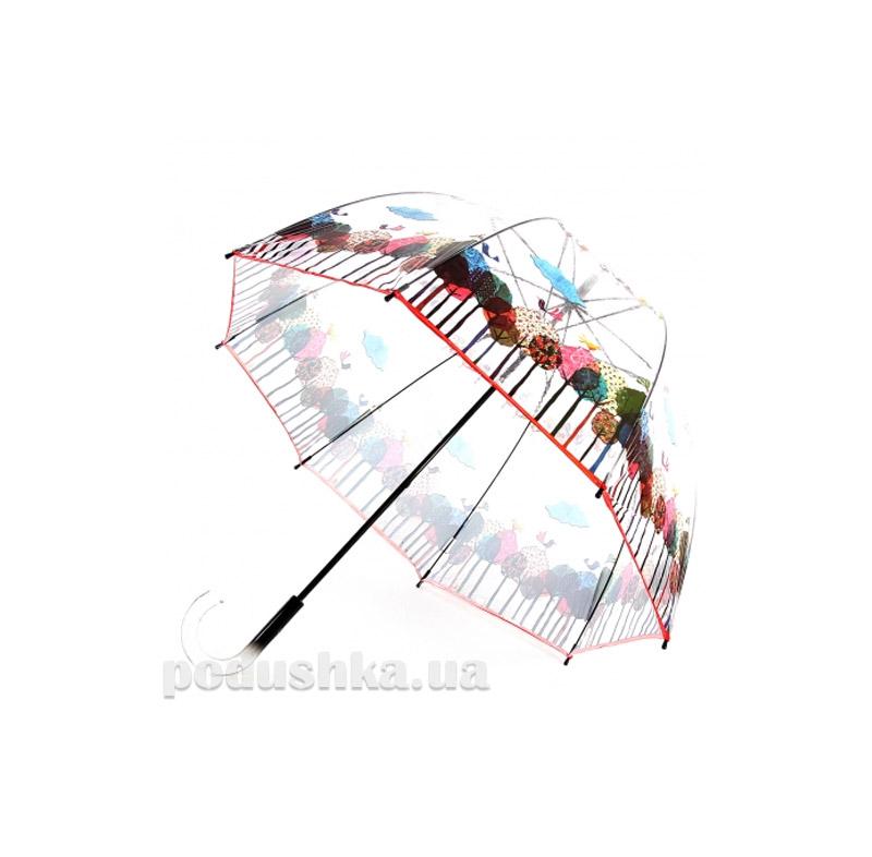 Женский зонт-трость прозрачный Zest 51570 Птицы
