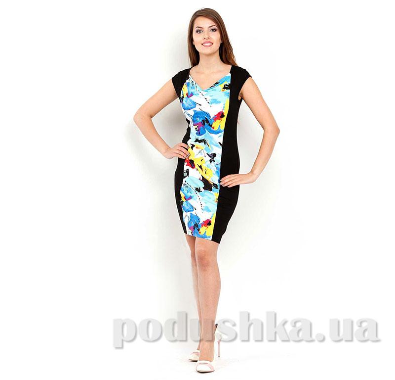 Женское платье МТФ 02603 цветы черное