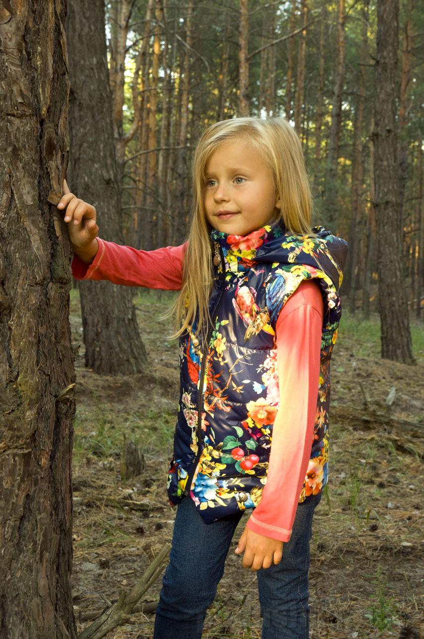 Жилет для девочки демисезонный Модный карапуз 03-00598 синий