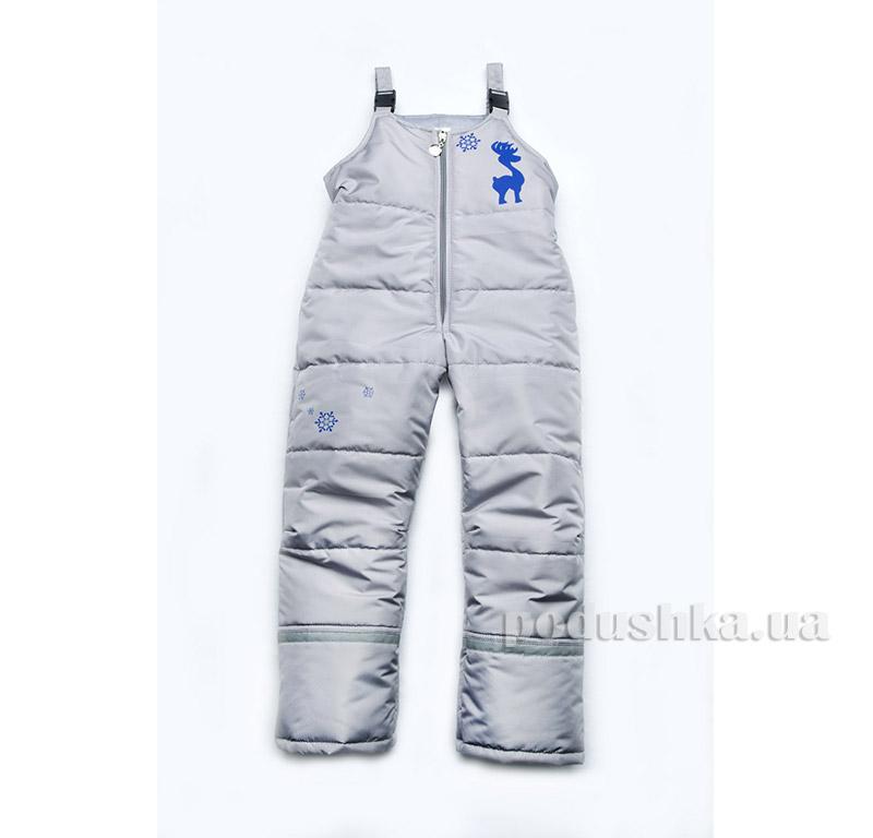 Зимние штаны детский полукомбинезон Модный карапуз 03-00590 серый и синий