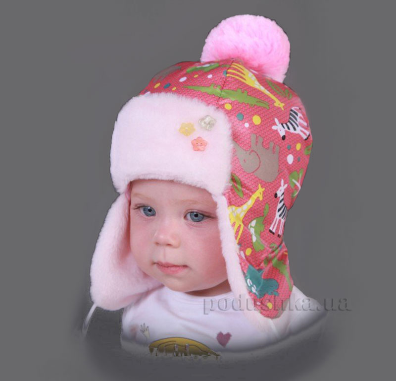 Зимняя шапка Бабасик Манюня розовая