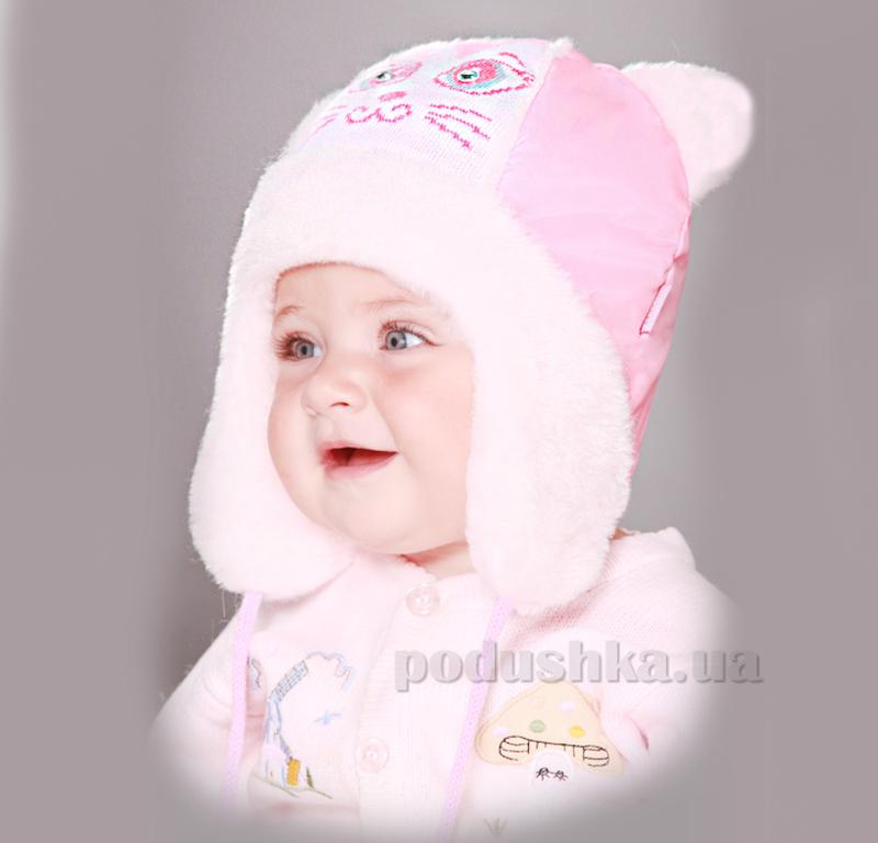 Зимняя шапка Бабасик Мурзик бело-розовый
