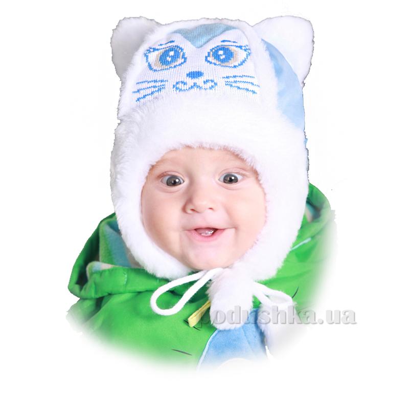 Зимняя шапка Бабасик Мурзик голубой