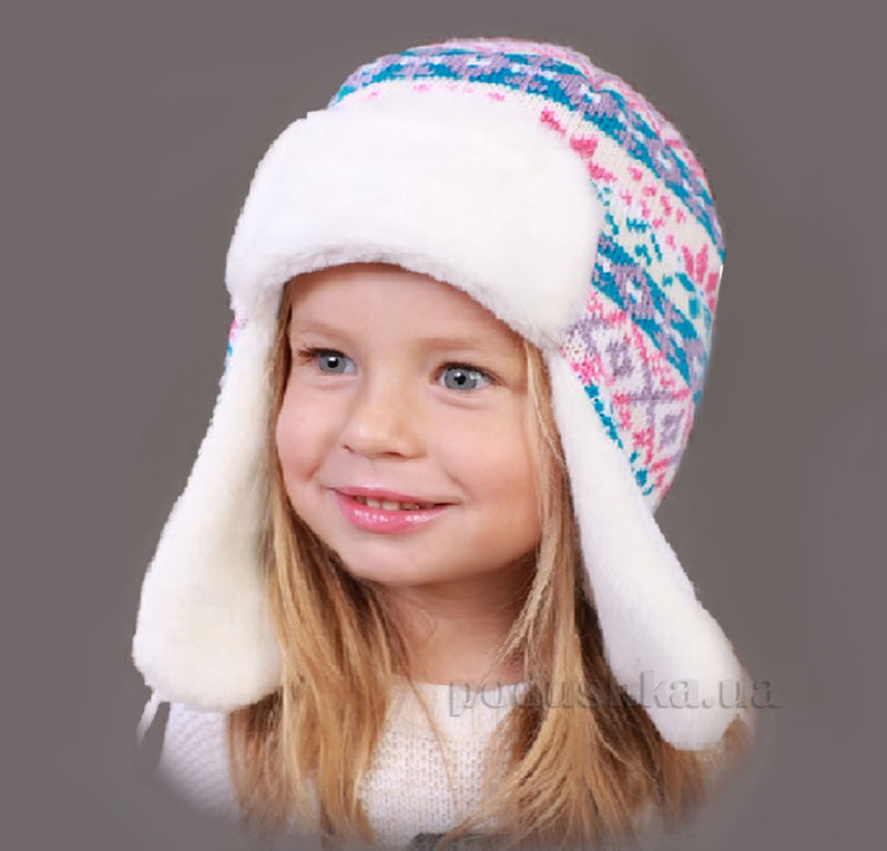 Зимняя шапка Бабасик Ната бело-бирюзовая
