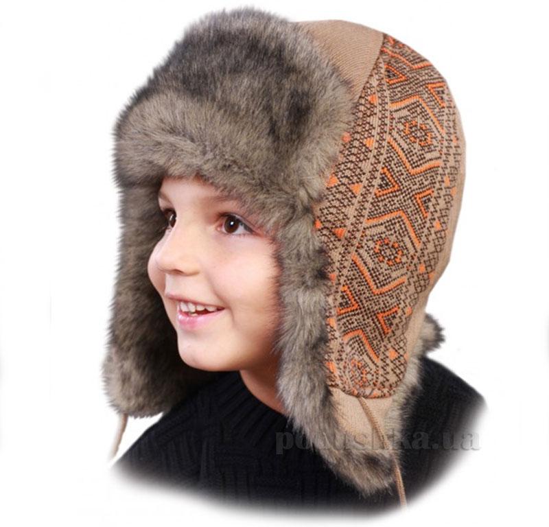 Зимняя шапка Бабасик Вышиванка коричневая