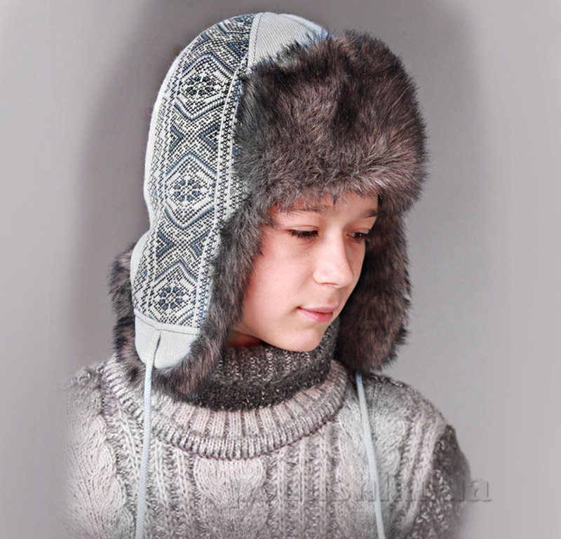 Зимняя шапка Бабасик Захар серый