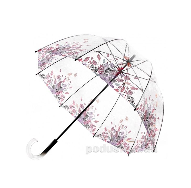 Зонт-трость женский прозрачный Zest 51570 Листья