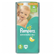 Подгузники Pampers Active Baby-Dry Размер 5 (Junior) 11-16 кг, 58 шт