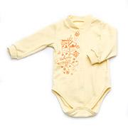 Боди для девочек с длинным рукавом интерлок Модный карапуз 301-00015 Желтое