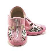 Тапочки детские Маша 21-27 розовые леопардовые Waldi