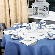 Настольник Гармония мод.46-В-1 Колокольчик с голубым бантом белый лен