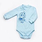 Боди для мальчиков с застежкой Модный карапуз 301-00015 Голубое