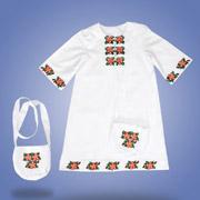 Платье с вышивкой и сумочкой Сварга Яблоневый цвет