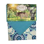 Набор скатерть с настольником Maser Home Collection бело-голубой узор