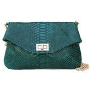 Кожаная сумочка-клатч Poolparty Green snake clutch с цепочкой