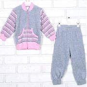 Спортивный костюм Татошка 08340 серый в розовую полоску