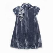 Платье нарядное бархатное Модный карапуз 03-00547 темно-серое