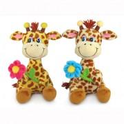 Мягкая игрушка - Жираф с цветком музыкальный, 23 см