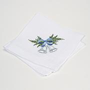 Набор салфеток Гармония мод.1 Колокольчик с голубым бантом белый лен