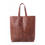 Женская сумка кожаная Poolparty City Croco brown
