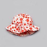 Панама для девочки с цветком Модный карапуз 03-00501 белая в красный горох